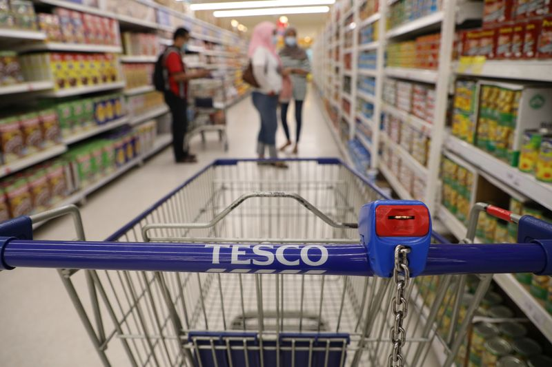 A shopping cart is pictured in a Tesco supermarket, amid the coronavirus disease (COVID-19) outbreak in Petaling Jaya