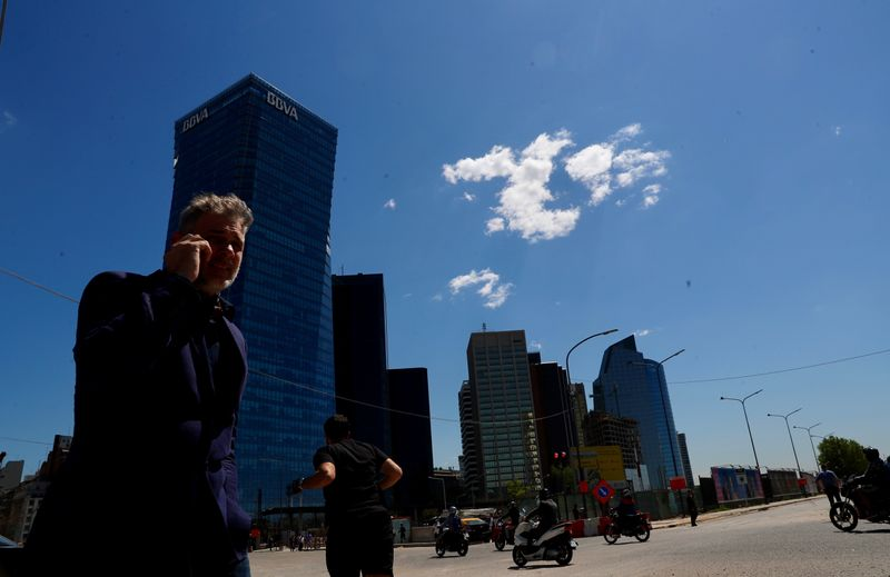A man talks on his cell phone in Buenos Aires' financial district