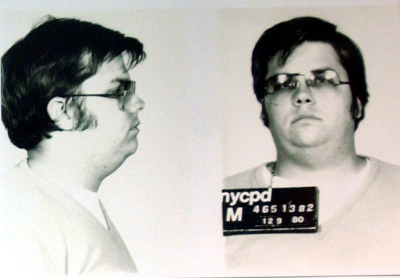 FILE PHOTO: Mug-shot of Chapman is displayed on 25th anniversary of Lennon's death at NYPD in New York