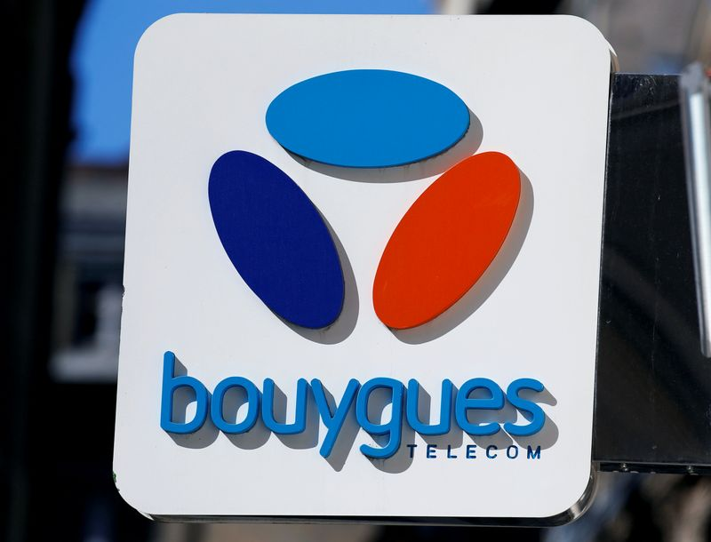 FILE PHOTO: The Bouygues Telecom company logo is seen at a shop in Bordeaux