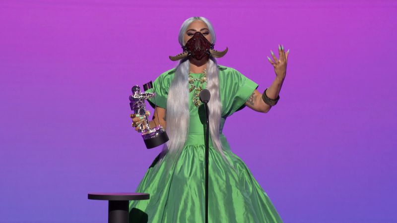 Lady Gaga accepts the award for Artist of the Year during the 2020 MTV VMAs