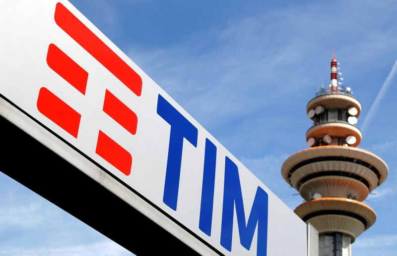 FILE PHOTO: Telecom Italia's logo is seen at the headquarters in Rozzano neighbourhood of Milan