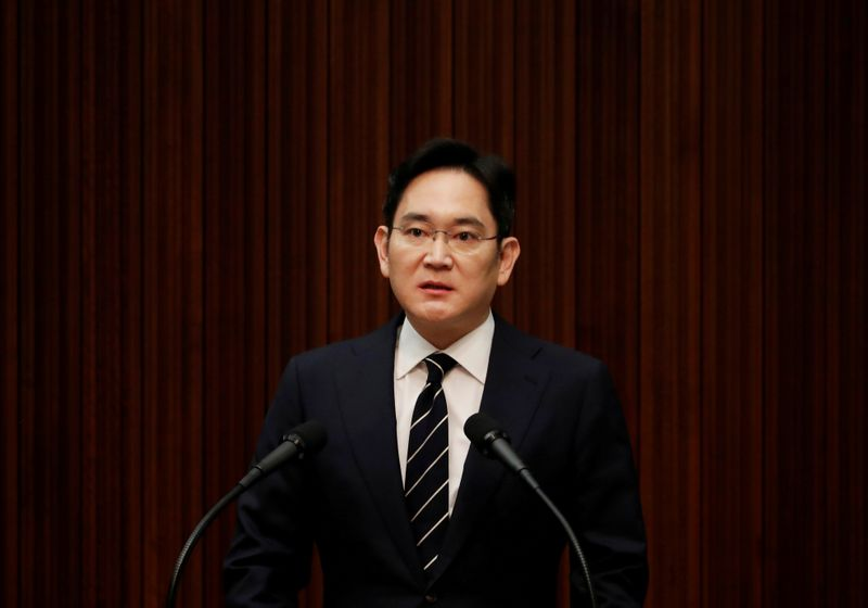 FILE PHOTO: Samsung Electronics Vice Chairman, Jay Y. Lee, speaks during a news conference at a company's office building in Seoul