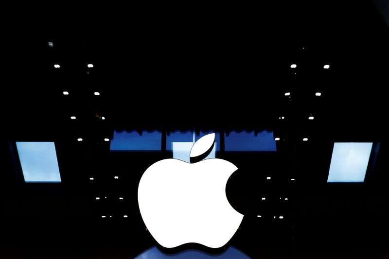 FILE PHOTO: Apple logo is seen on the Apple store at the Marche Saint Germain in Paris