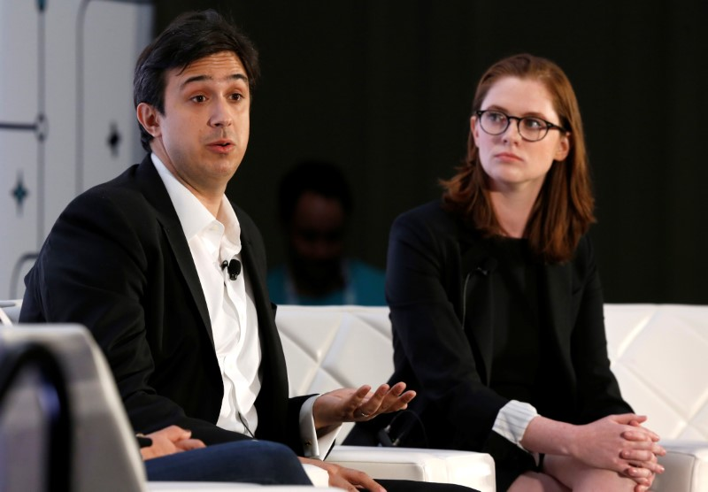 Tezos co-founder and CTO Arthur Breitman and his wife and co-founder Kathleen Breitman respond to questions during the Money 20/20 conference in Las Vegas