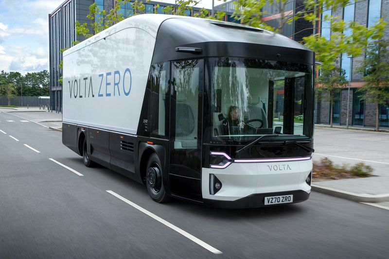 The new Volta Truck is seen in Farnborough