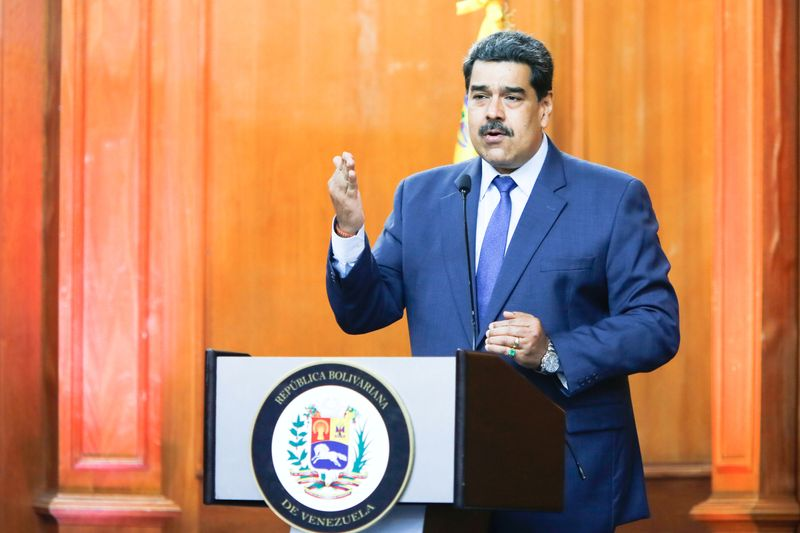 FILE PHOTO: Venezuela's President Nicolas Maduro speaks during the Venezuela's national award of journalism ceremony in Caracas