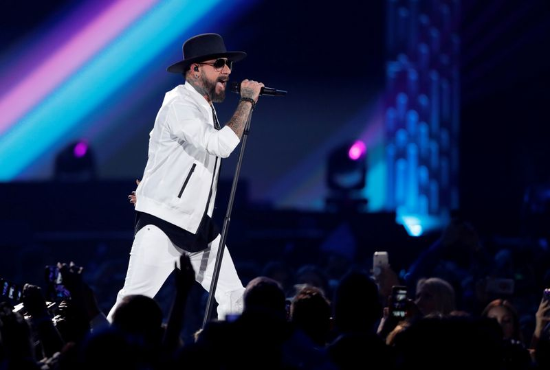 FILE PHOTO: AJ McLean of the Backstreet Boys performs during the iHeartRadio Music Festival at T-Mobile Arena in Las Vegas