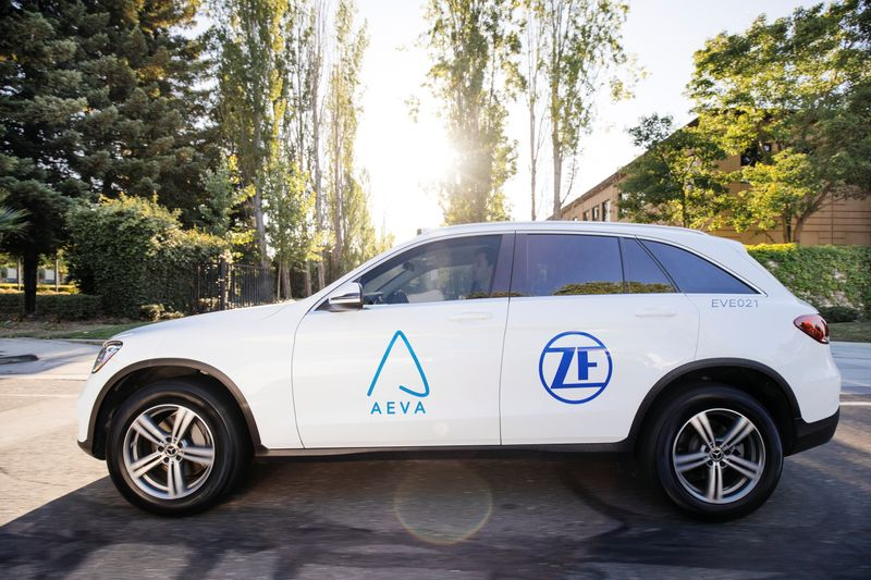 Test vehicles and sensors are seen from Aeva Inc, a Mountain View, California-based startup that makes lidar sensors to help self-driving vehicles see the road