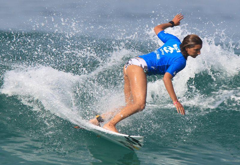 FILE PHOTO:  Gabeira of Brazil surfs during the women's Association of Surfing Professionals Billabong Rio Pro championship at Barra da Tijuca beach in Rio de Janeiro