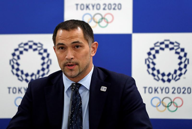 Tokyo 2020 Olympic and Paralympic organising committee Sports Director Koji Murofushi attends a news conference on the water quality survey for an Olympics venue, in Tokyo
