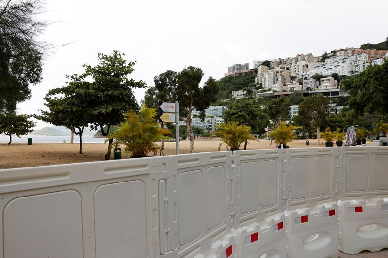A view of the barricaded entrance to Repulse Bay beach in Hong Kong