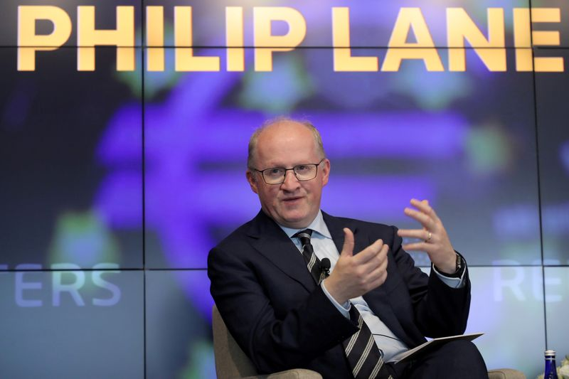 FILE PHOTO: European Central Bank Chief Economist Philip Lane speaks during a Reuters Newsmaker event in New York