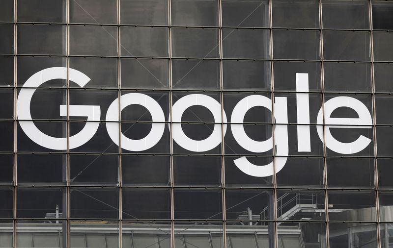 Logo of Google on a building at La Defense