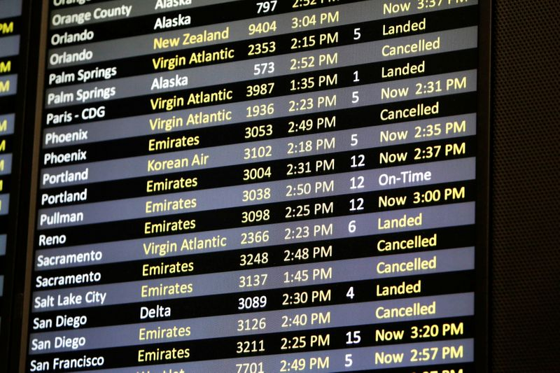 FILE PHOTO: Several canceled flights are pictured on a monitor at Seattle-Tacoma International Airport as airlines are reeling from a plunge in bookings and traffic due to the coronavirus pandemic, in SeaTac, Washington