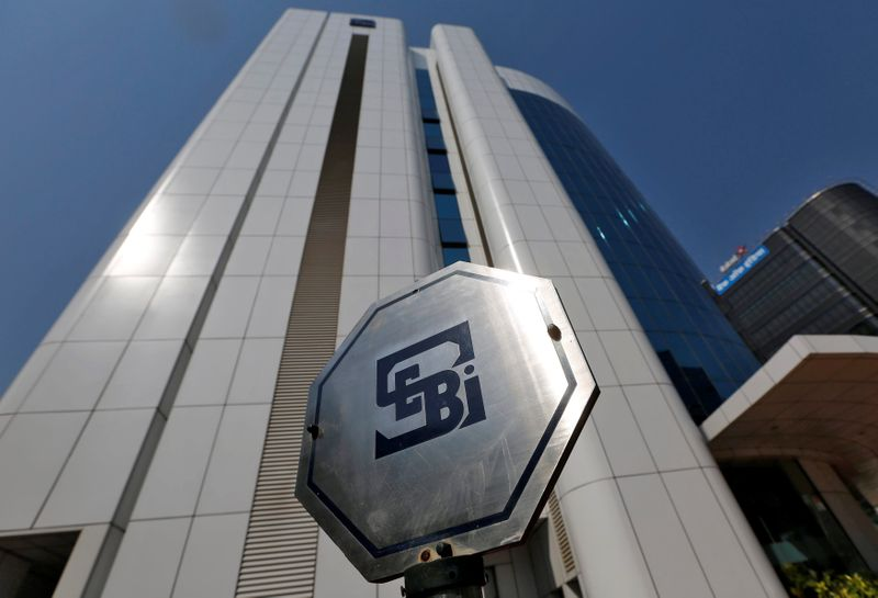 The logo of the Securities and Exchange Board of India (SEBI) is pictured on the premises of its headquarters in Mumbai