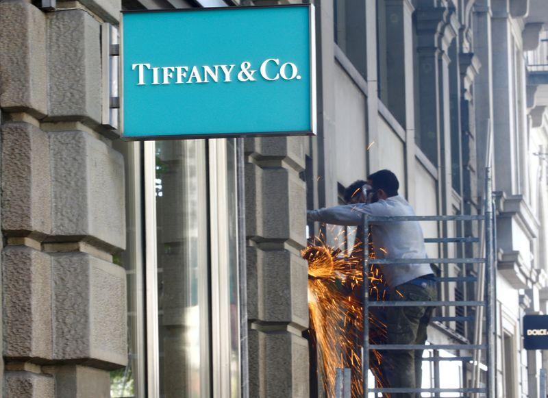 FILE PHOTO: Logo of U.S. jeweller Tiffany & Co. is seen in Zurich