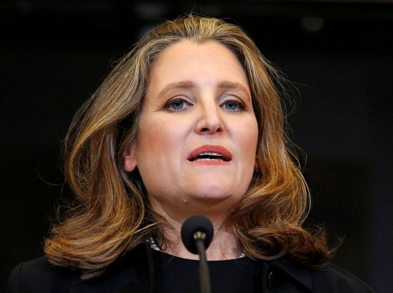FILE PHOTO: Deputy Prime Minister and Finance Minister Freeland speaks to reporters on Parliament Hill in Ottawa