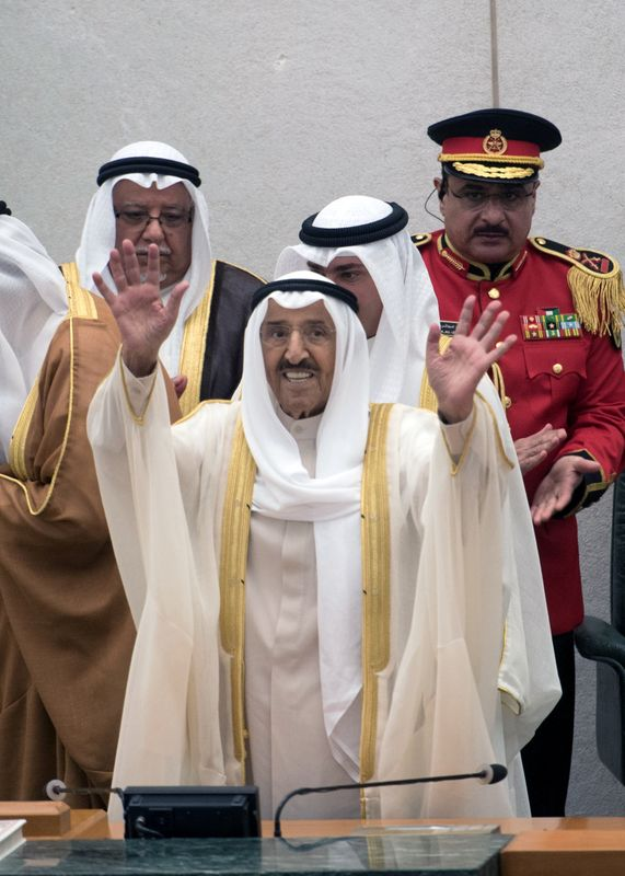 Kuwait's Emir Sheikh Sabah al Ahmad al Sabah waves at the end of the opening of the 4th ordinary session of the 15th Legislative Parliament in Kuwait city