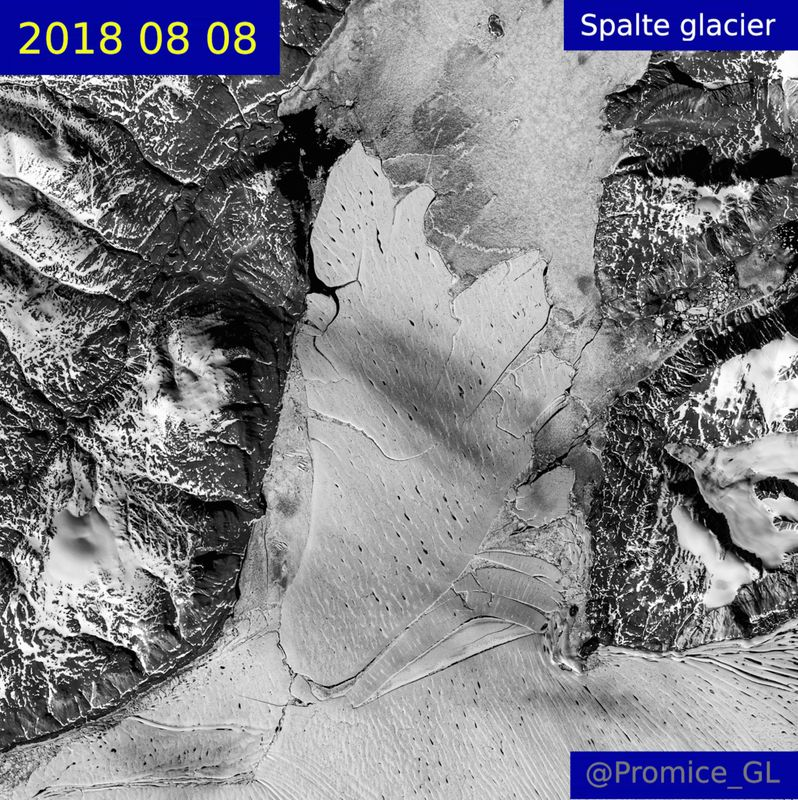 A satellite image shows the Spalte glacier in 2018