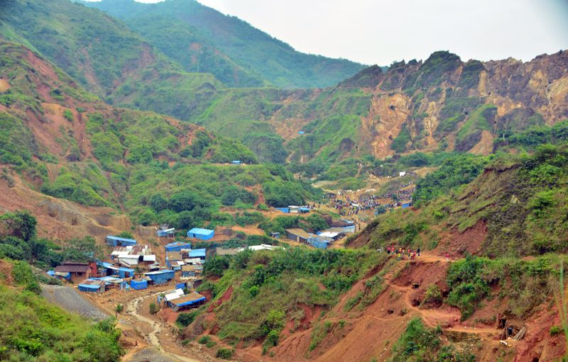 A general view shows an artisanal gold mine near Kamituga