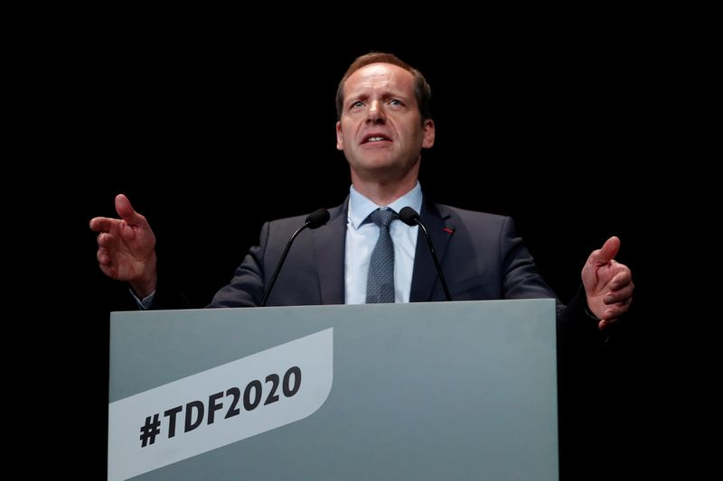 Tour de France director Christian Prudhomme speaks during a news conference to unveil the itinerary of the 2020 Tour de France cycling race in Paris