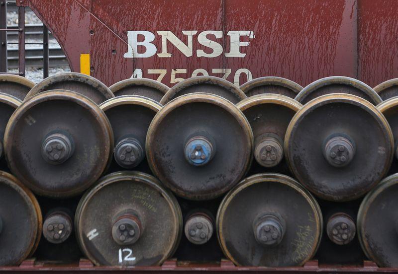 Spare train wheels are stored at a Burlington National Santa Fe (BNSF) railyard in Seattle