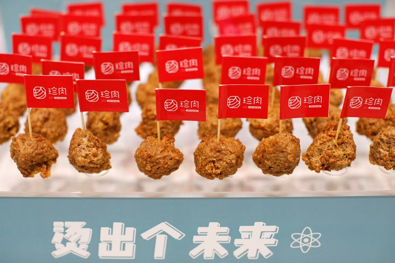 Plant-based meatballs produced by Zhenmeat are seen displayed at a Hope Tree restaurant in Beijing
