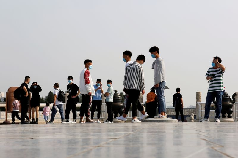 Visitors are seen at the Temple of Heaven in Beijing
