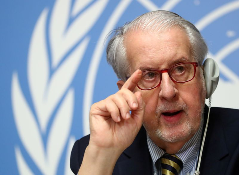 FILE PHOTO: News conference of the Independent Commission of Inquiry on the Syrian Arab Republic in Geneva