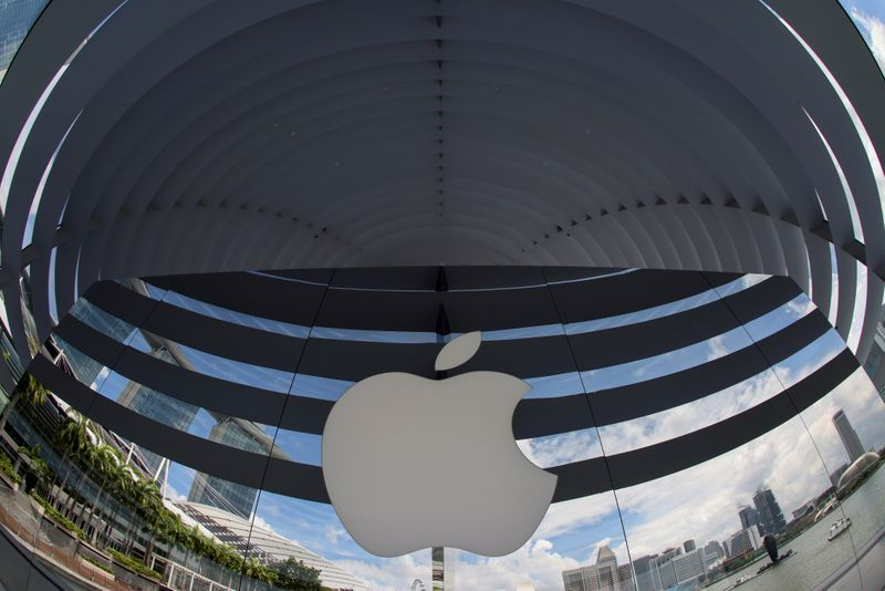 FILE PHOTO: A logo of Apple is seen outside at the upcoming Apple Marina Bay Sands store in Singapore