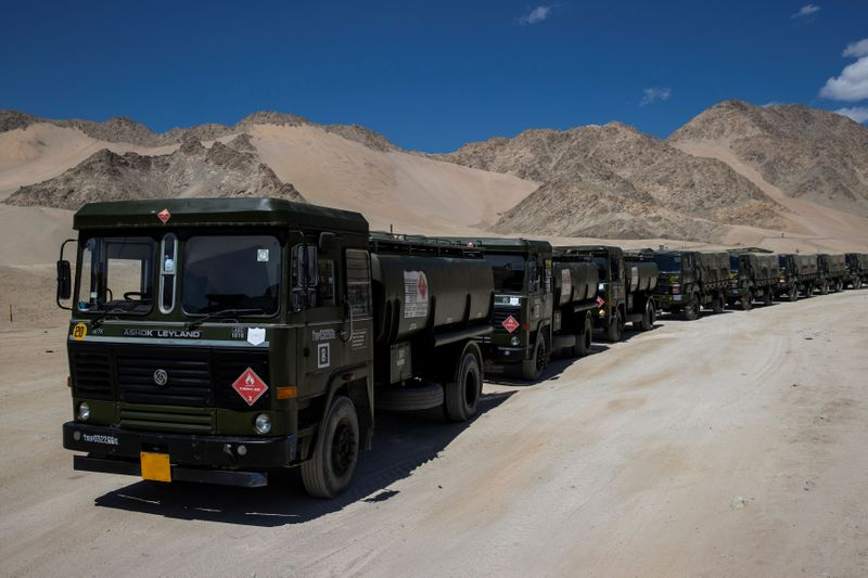 Military trucks carrying supplies move towards forward areas in the Ladakh region
