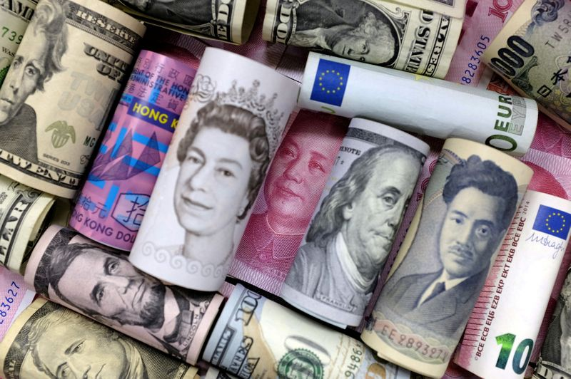 FILE PHOTO: Euro, Hong Kong dollar, U.S. dollar, Japanese yen, pound and Chinese 100 yuan banknotes are seen in this picture illustration