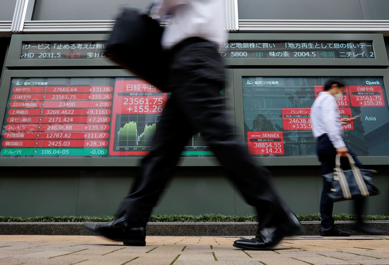 Passersby wearing protective masks walk past an electronic board showing Japan's Nikkei average, in Tokyo