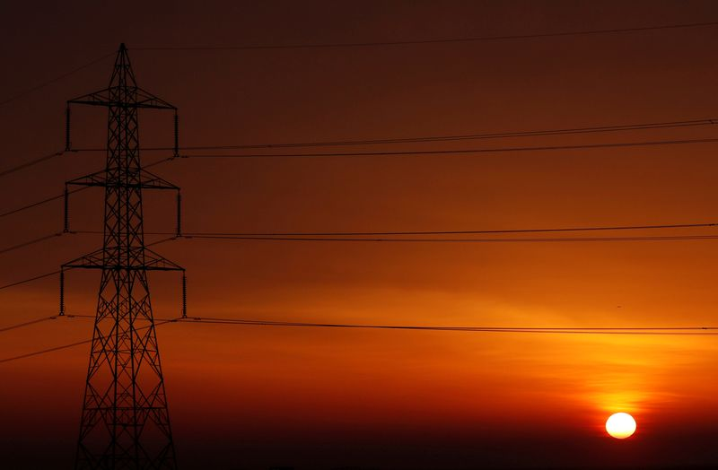 FILE PHOTO: The sun is seen behind high-voltage power lines and electricity pylons at a highway northeast of Cairo