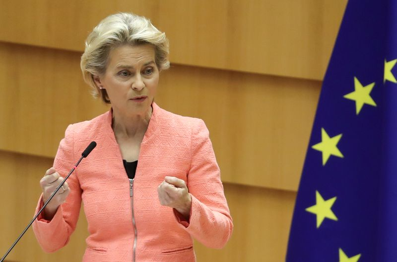 European Parliament president David-Maria Sassoli reacts as European Commission President Ursula von der Leyen addresses her first State of the European Union speech during a plenary session of the European Parliament, in Brussels