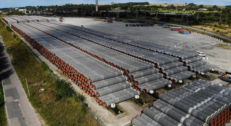 FILE PHOTO: Pipes for the Nord Stream 2 Baltic Sea pipeline in Mukran