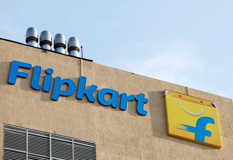 FILE PHOTO: The logo of Flipkart is seen on the company's office in Bengaluru