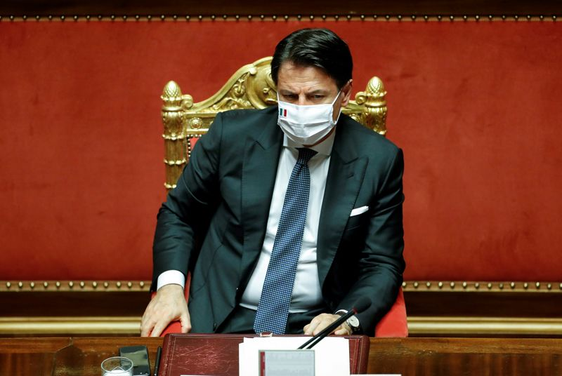 FILE PHOTO: Italian PM Conte attends a session of the upper house of parliament on the coronavirus disease (COVID-19) in Rome