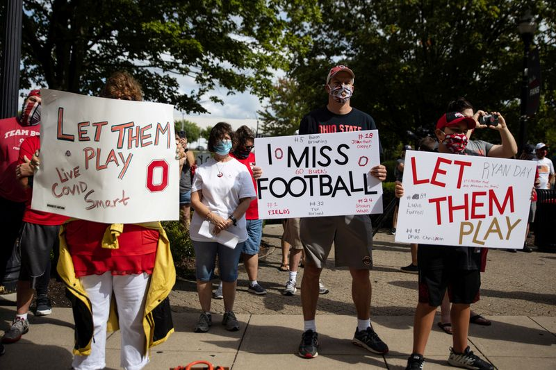 FILE PHOTO: Parents of Ohio State football players stage a protest