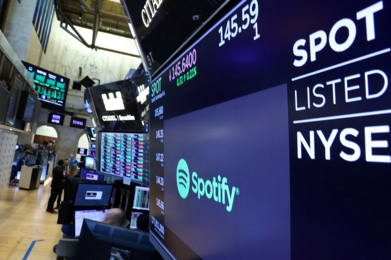 FILE PHOTO: A screen displays the company logo and trading info for Spotify on the floor at the NYSE in New York