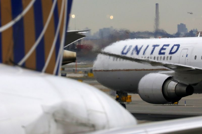 ecFILE PHOTO: A United Airlines passenger jet taxis at Newark Liberty International Airport