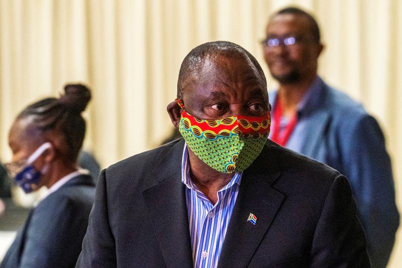 South African President Cyril Ramaphosa visits the coronavirus disease (COVID-19) treatment facilities in Johannesburg
