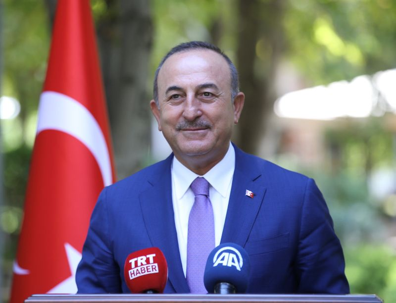 Turkish Foreign Minister Cavusoglu speaks to the media in Ankara