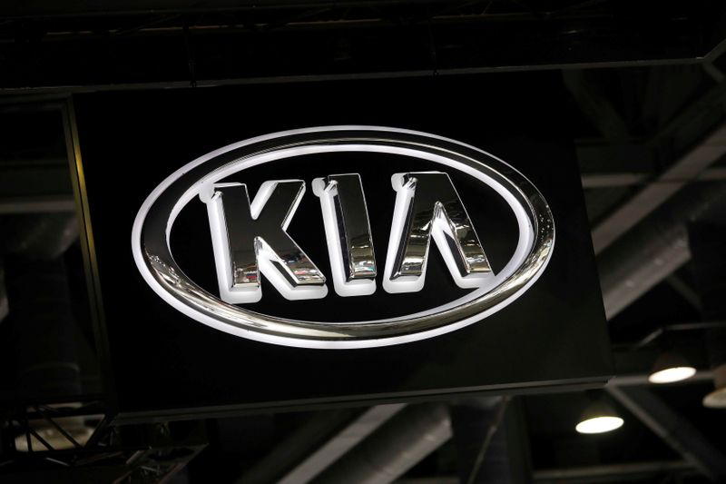 The logo of Kia Motors is seen during the 2019 Seoul Motor Show in Goyang