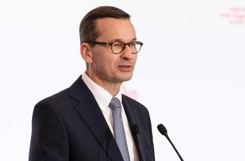 FILE PHOTO: Poland's Prime Minister Mateusz Morawiecki speaks during a news conference at a summit of the Visegrad Group (V4) countries in Warsaw,