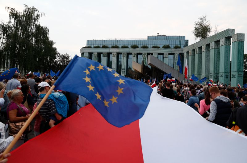 People wave EU and Polish flags during a protest against supreme court legislation in Warsaw
