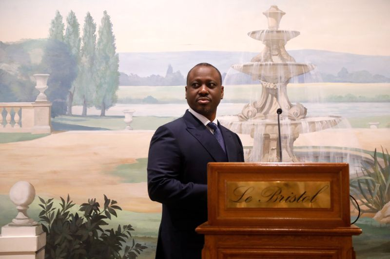 Ivory Coast presidential candidate Guillaume Soro holds news conference in Paris