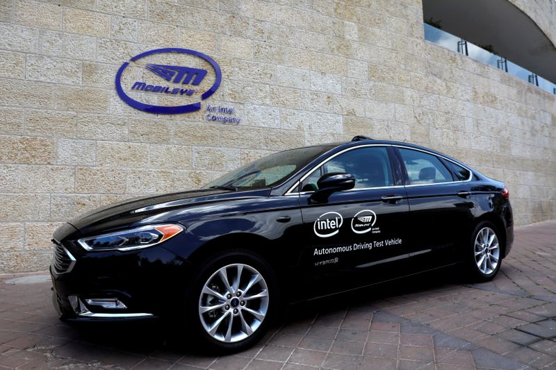 FILE PHOTO: A general view of a Mobileye autonomous driving test vehicle, at the Mobileye headquarters in Jerusalem