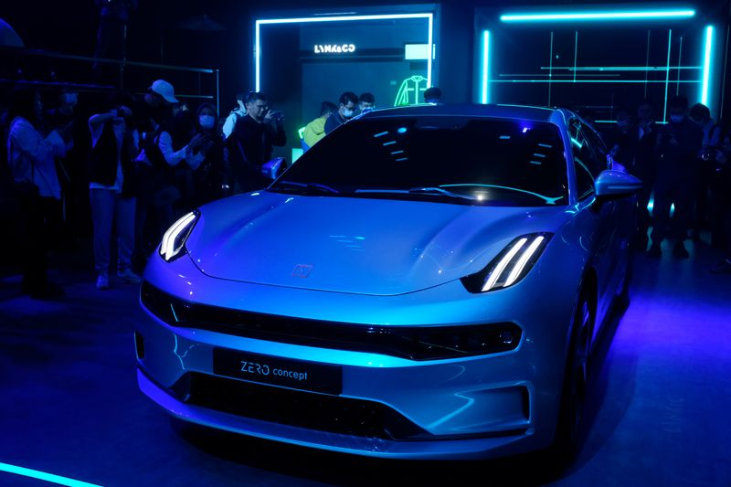 Lynk & Co Zero Concept is seen displayed at a promotional event in Beijing
